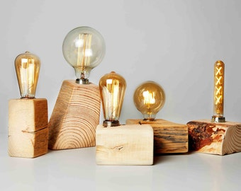 Reclaimed Wood Edison Bulb Lamp, Eco friendly Modern Wood lamp, Rustic Farmhouse lighting, Trending Home Decor, First Home Housewarming Gift