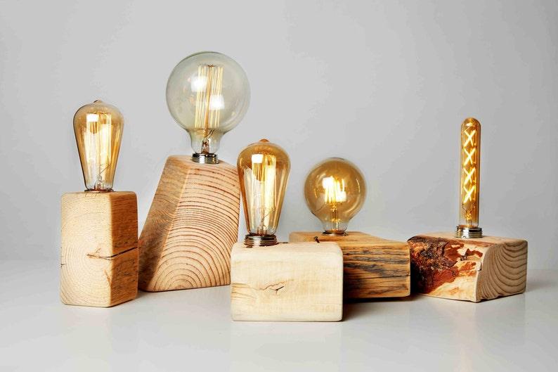 First home housewarming gift Rustic Farmhouse lighting Reclaimed Wood Edison bulb lamp Trending home decor Eco friendly Modern wood lamp