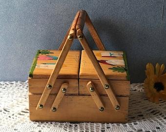 Vak voorzien handtas, houten rustieke Upcycled Top handvat portemonnee, etnische koppeling, Vintage sieraden doos, uitklapbare make-up geval