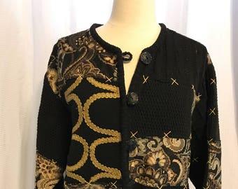 Embroidered Patchwork Jacket, Size XL Black And Gold Coat, 80's Vintage Blazer