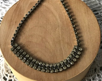 Triple Strand Clear and Smokey Gray Rhinestone Necklace, Vintage Choker with Hook Enclosure, 50's Costume Jewelry
