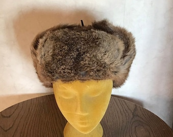 0af224c5cbb Real Rabbit Fur Hat Authentic Fur Trapper Cap Winter Warm with Ear Flaps  Russian Bomber Style Adult Size Cap Eco Friendly Fur Size Medium