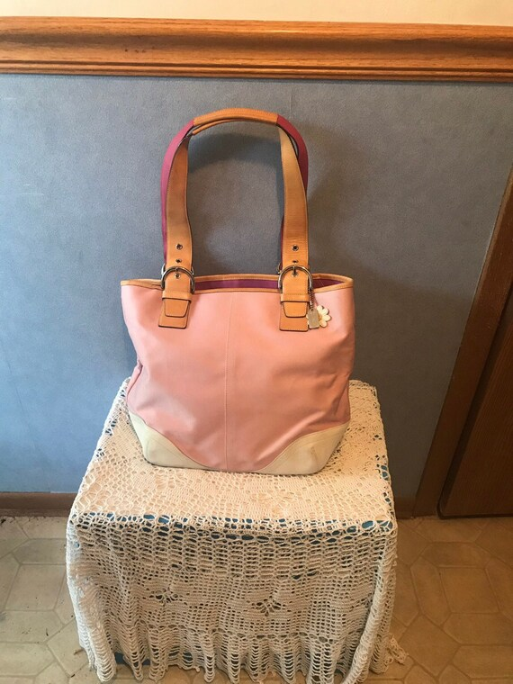 Pink, White, and Brown Coach Purse, Authentic Vint