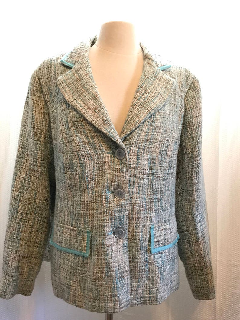 23a6aed1cb06 Blue Tweed Jacket Chanel Style Blazer Plus Size 18 20 XL | Etsy