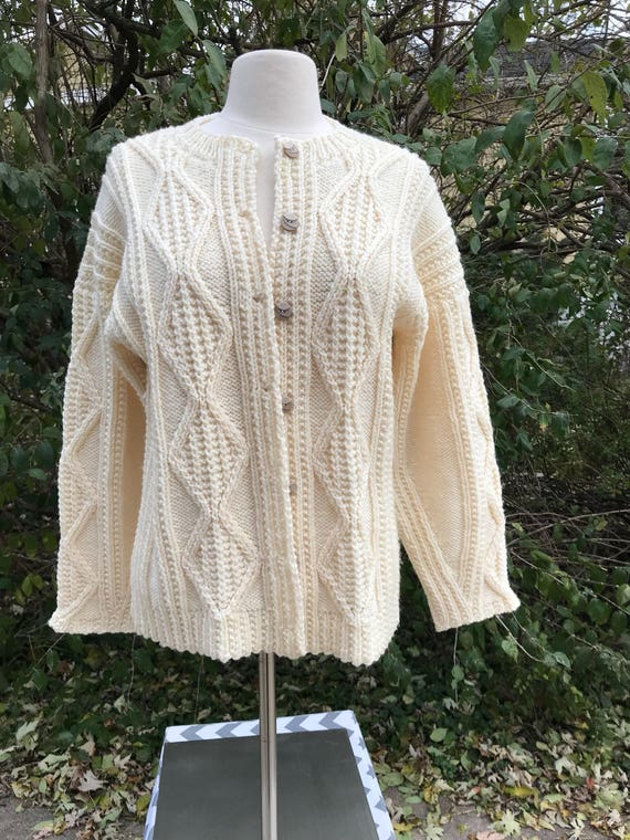 Hand Knit Sweater Vintage Soft Off White Cardigan Size Medium Jumper Hand Crafted Clothing