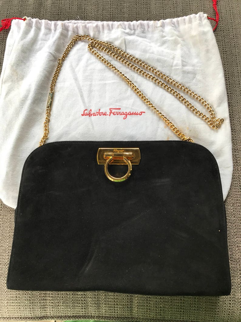 b4bf4b429bb5 Salvatore Ferragamo Evening Bag With Dust cover Black Suede