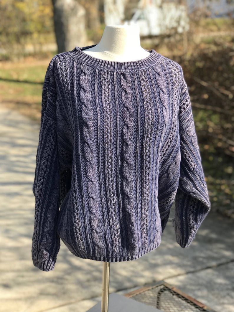 Vintage Stonewashed Sweater, 90's Blue Knit Pullover, Plus Size XL 1XL 2XL  Jumper