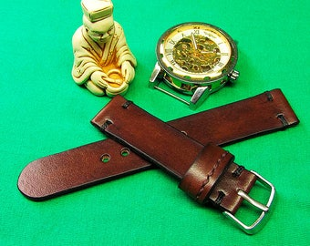 Handmade Brown Itallian vegetable tanned Chromexcel Leather Watch Strap 18mm, 20mm, 22mm, 24mm, Watch Strap Leather, Watch band, 045