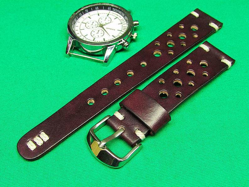 En 24mm La Bracelet Cuir À Fait Montre Boeuf Main Bourgogne 22mm 20mmCuir Sang 18mm Rallye Chromexcel De MGSUpjqzVL