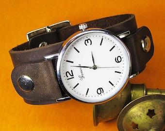 Handmade Brown Watch cuff strap Mens Watch Leather strap 16mm, 18mm, 20mm, 22mm, 24mm, Watch band, Leather Watch Strap, 018
