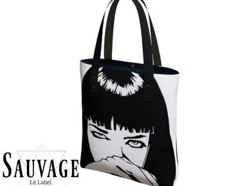 66918b92918 Pulp Fiction - Deluxe Lined Tote Bag - Custom Vegan leather Straps -  Totally handmade in Montreal