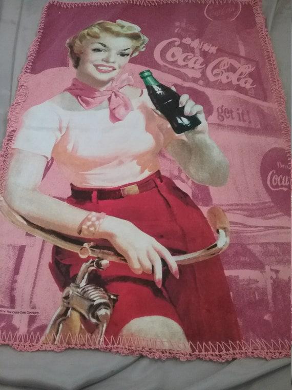 Coca Cola Girl Tea Towel, Crochet Edge, Handmade