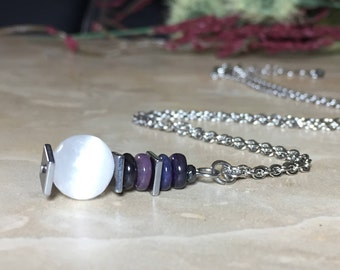 Selenite Necklace, Genuine South African Sugilite Necklace, Healing Crystal, Sugilite Necklace, Chakra Crystal, Purification, 10mm Selenite