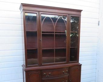 Beau Mahogany Large Breakfront China Closet Display Cabinet Cupboard Book Case  9343