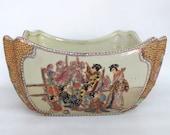 Royal Satsuma Hand Painted Beaded Porcelain Large Vase Bowl 302B