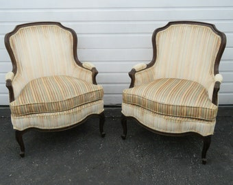 Pair Of French Carved Living Bed Room Fireplace Side Chairs By Drexel 9569  SHIPPING NOT INCLUDED Please Ask For Shipping Quote