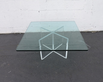 Mid Century Modern Lucite Acrylic Plexiglass With Glass Top Coffee Table 6916