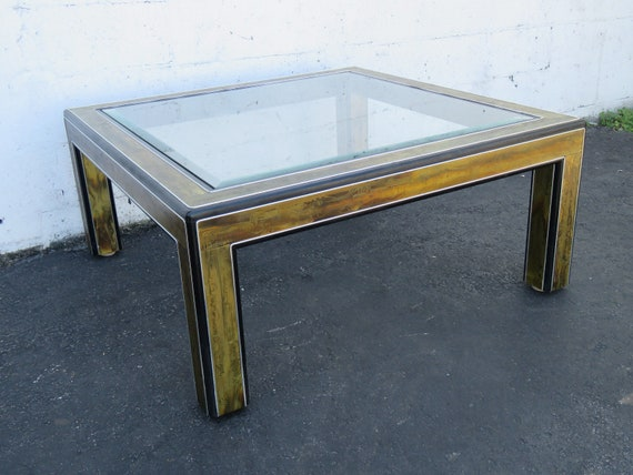 Hollywood Regency Acid Etched Brass Beveled Glass Coffee Table Etsy