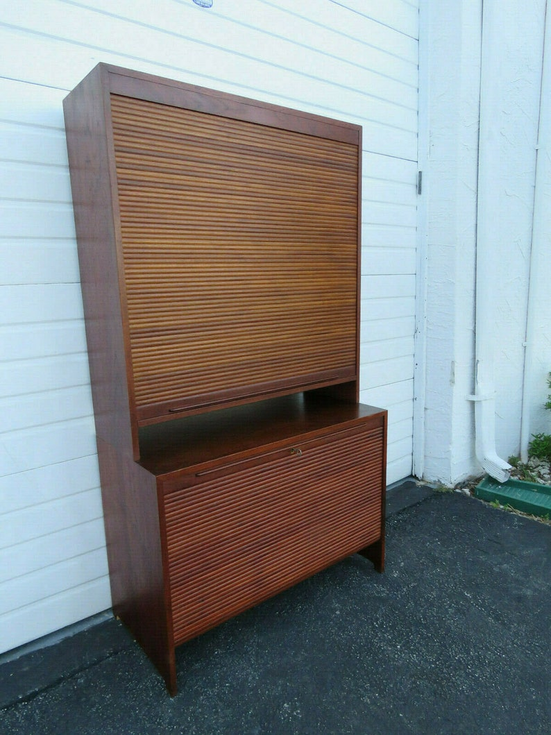 Danish Mid Century Bookcase Display Storage Cabinet With Tambour Doors 9549 Shipping Not Included Please Ask For A Shipping Quote