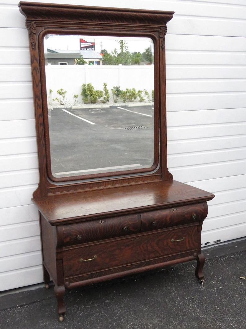 Early 1900s Tiger Oak Dresser Console Vanity Table With Large Tilt Mirror  9404