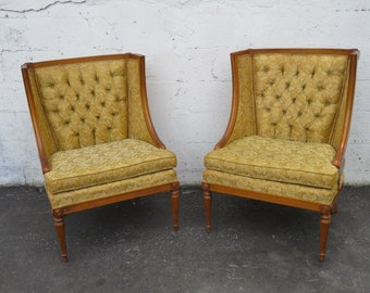 French Pair of Large Side Living Room Fireplace Chairs by Moore of Bedford 9003