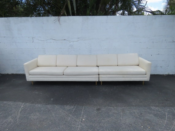 Mid Century Modern Long Two Part Sectional Low Sofa Couch 8962 SHIPPING NOT  INCLUDED ask for shipping quote