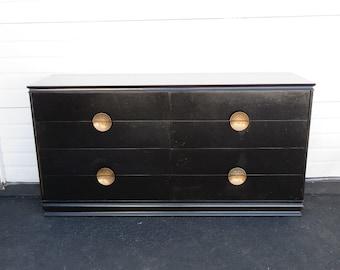 Hollywood Regency Mid Century Painted Black Dresser 8611
