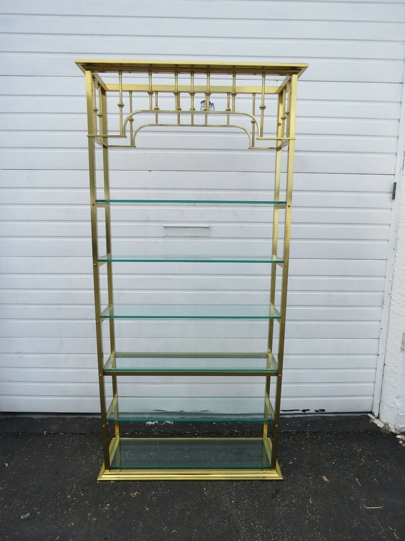 Hollywood Regency Tall Brass Finish Display Cabinet Bookcase 9489 Shipping Not Included Please Ask For A Shipping Quote