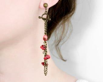 Boho long chain earrings natural coral cornelian bronze earrings gypsy earrings Bohemian jewelry Gift for Her