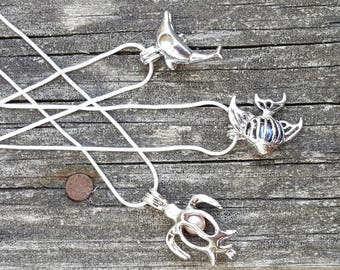 Pick a Pearl Pendant Locket on 925 Silver Chain (Set 2)