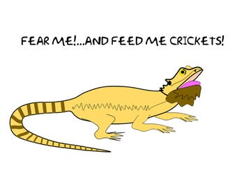 Fear me and Feed me crickets!  Bearded Dragon socks, Beardies, lizard, Gifts for reptile owners