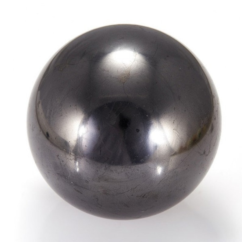 SHUNGITE POLISHED CRYSTAL SPHERE BALL RUSSIA 100 mm//3,94 in