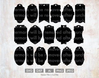 gift tag template bundle cutting file vector silhouette etsy