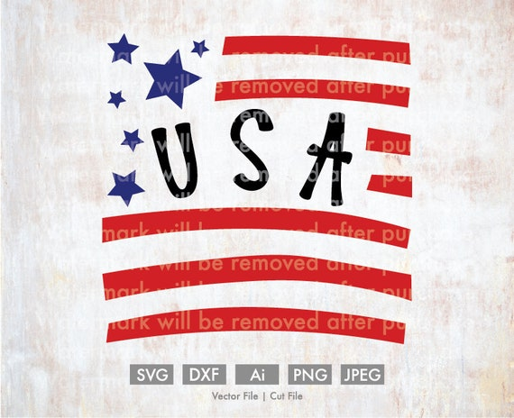 Usa American Flag Decor Cut File Vector Silhouette Cricut Etsy
