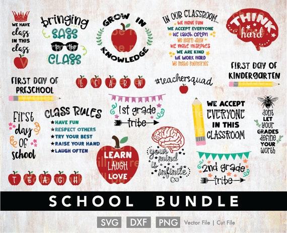School Svg Bundle Cricut Cut File Silhouette Cameo Dxf Png Etsy