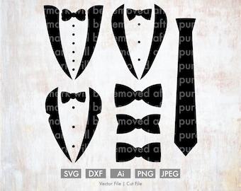 Tuxedo Bundle - Cut File/Vector, Silhouette, Cricut, SVG, PNG, Clip Art, Download, Wedding, Married, Groom, Groomsman, Groomsmen, Bow Tie