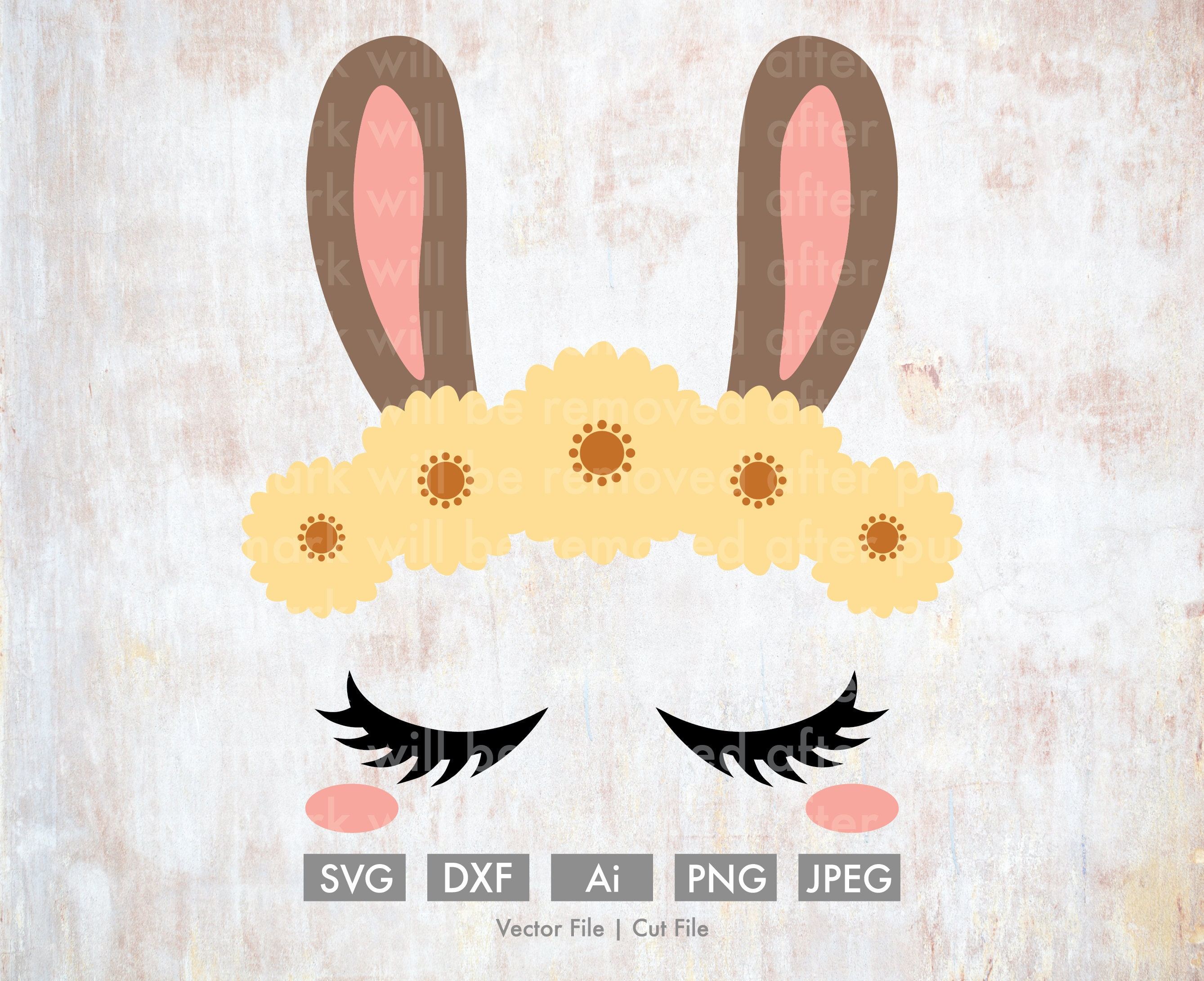Bunny Ears With Yellow Flowers Cut Filevector Silhouette Etsy