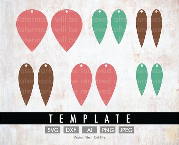 diy 6 teardrop earrings template bundle cut file vector etsy