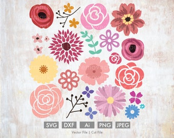 Flower Bundle - Cut File/Vector, Silhouette, Cricut, SVG, PNG, Clip Art, Download, Easter, Holiday Spring, Flowers, Roses, Peonies, Poppies