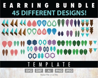 DIY 45 Earrings Template Bundle - Cut File/Vector, Silhouette, Cricut, SVG, PNG, Clip Art, Download, Faux Leather, Stencil, Jewelry Pack
