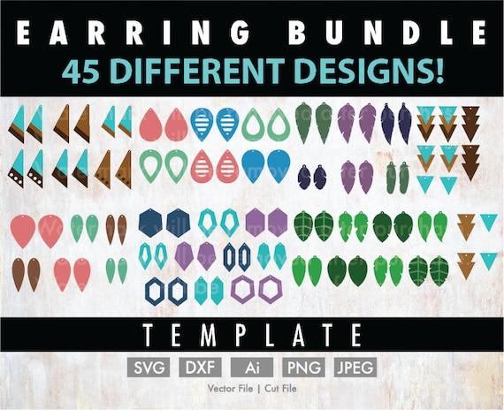 Diy 45 Earrings Template Bundle Cricut Cut File Silhouette Etsy