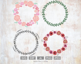 Floral Wreath Bundle - Cut File/Vector, Silhouette, Cricut, SVG, PNG, Clip Art, Download, Easter, Holiday Spring Flowers Roses Peonies