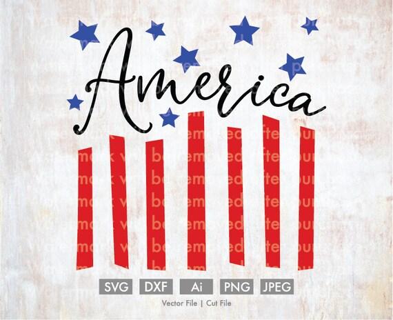 America Flag Decor Cut File Vector Silhouette Cricut Svg Etsy