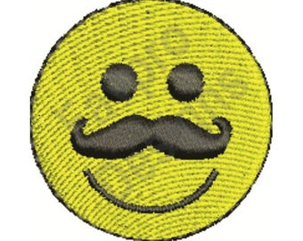 mustache smiley machine embroidery design