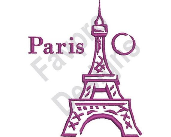 Paris Eiffel Tower Machine Embroidery Design Etsy