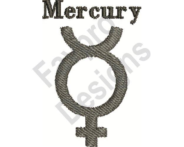 Planet Mercury Symbol Machine Embroidery Design Etsy