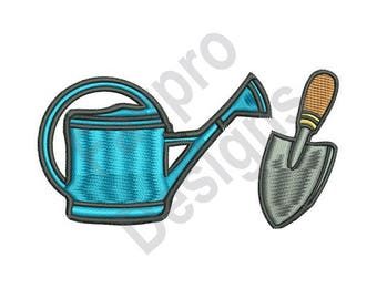Watering Can And Shovel  - Machine Embroidery Design