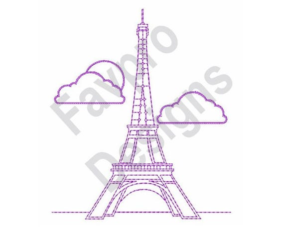 Eiffel Tower Outline Machine Embroidery Design Etsy