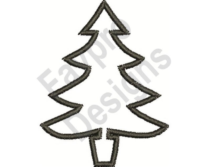 Christmas Tree Outline Machine Embroidery Design Etsy
