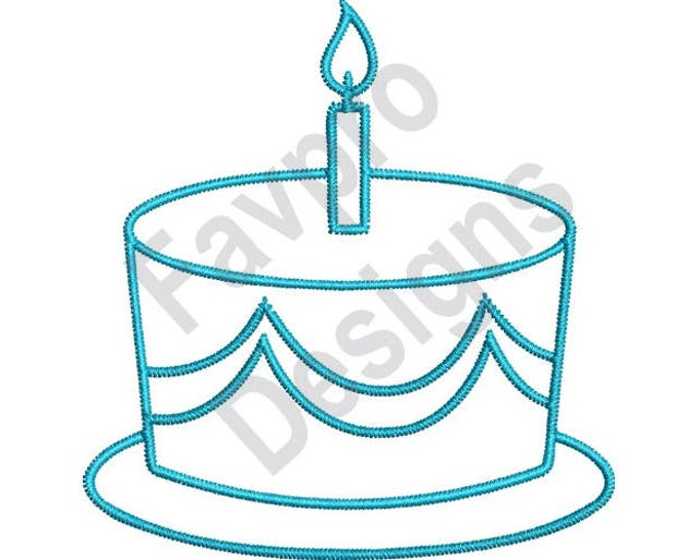 Birthday Cake Outline Machine Embroidery Design Etsy
